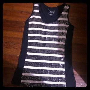 Blue & White striped  sequined INC. tank